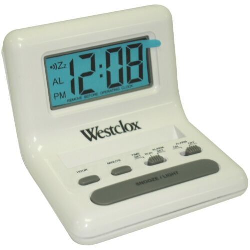 White LCD Alarm Clock with Light on Demand Westclox 47539 0.8in