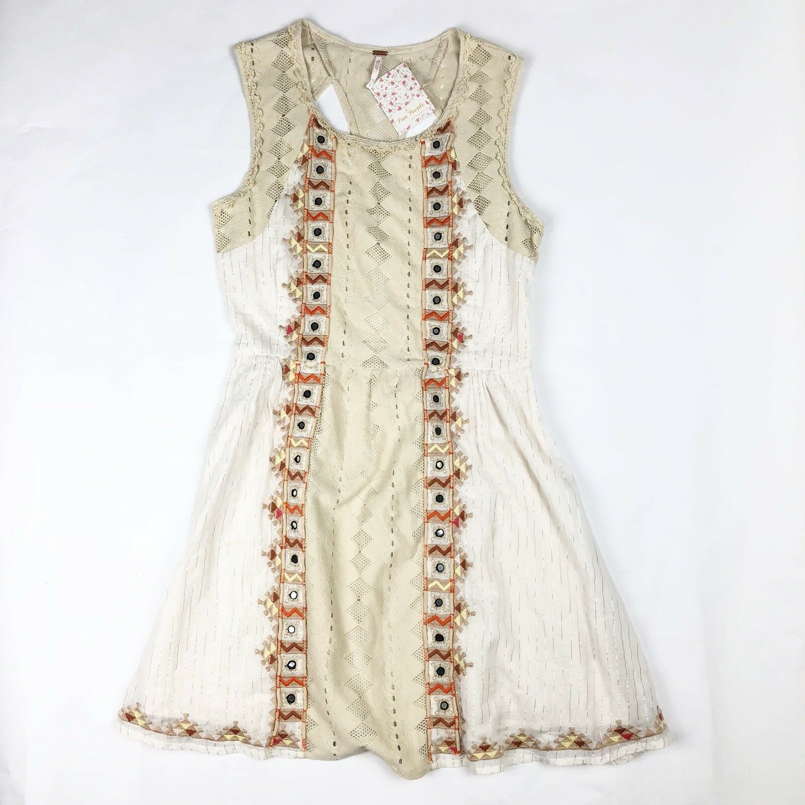 Free People Women's Boho Embroidered Water Lily Dress Metallic Ivory Size 4 NWT