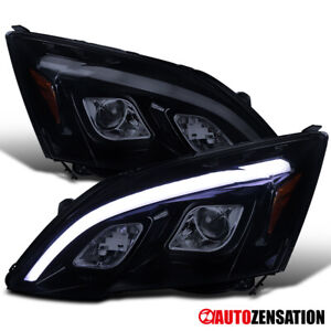 For-2007-2011-Honda-CR-V-Glossy-Black-Smoke-LED-DRL-Strip-Projector-Headlights