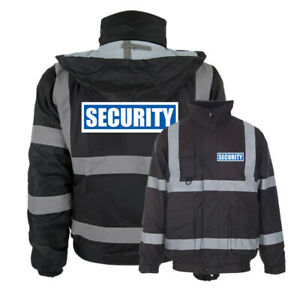 Black-Reflective-Security-Hi-Vis-Bomber-Jacket-Printed-Work-Coat-High-Viz
