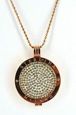 STUNNING MI MILANO SET CRYSTAL COIN/MONEDA NECKLACE/PENDANT STERLINA ROSE GOLD
