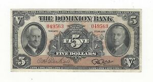 1938-The-Dominion-Bank-5-Note-Ch-220-28-02-SN-049563