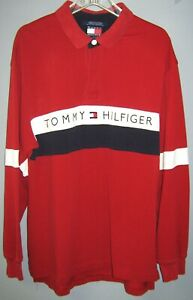 Details about Vintage TOMMY HILFIGER SPELL OUT COLOR BLOCK Rugby shirt XL