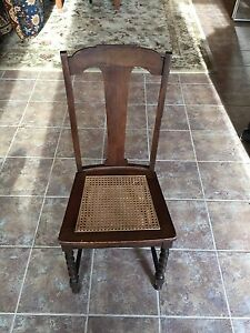 Image Is Loading Antique Chair Cane Seat Wooden Chair