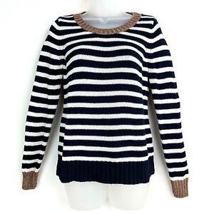 Banana-Republic-Women-039-s-Blue-White-Striped-Sweater-Sz-Med-Brown-Collar-amp-Cuffs