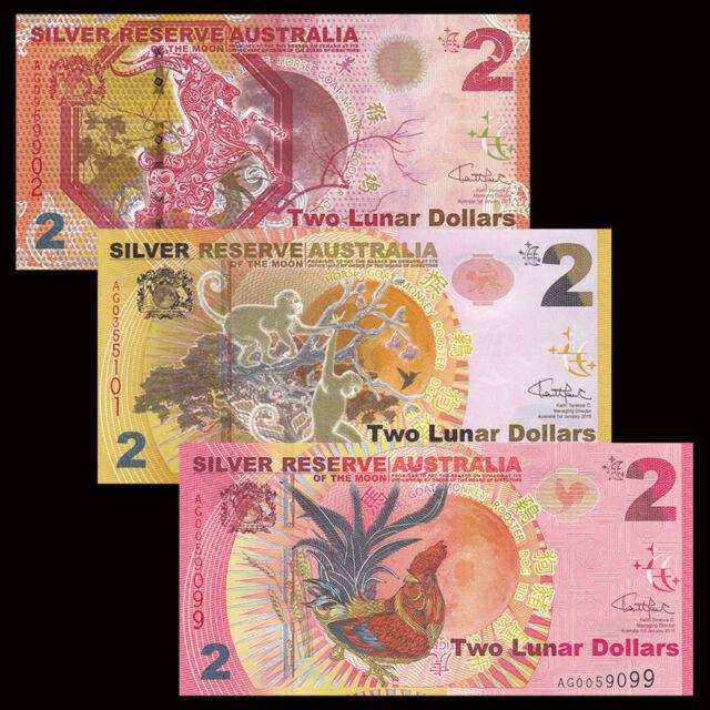 2015 2016 2017 Silver Reserve Australia 2 Lunar Dollars Set 3 PCS UNC
