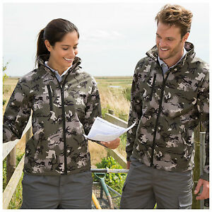 Mens-Womens-Camouflage-Green-Grey-Hunting-Softshell-Jacket-Shooting-Fishing-Hood