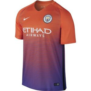 ec08a23197d Details about Nike Manchester City Season 2016 - 2017 Third Soccer Jersey  Orange   Purple