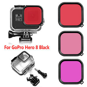 Waterproof-Funda-Protector-Diving-Filtro-de-Lente-Para-GoPro-Hero-8-Black-Camara