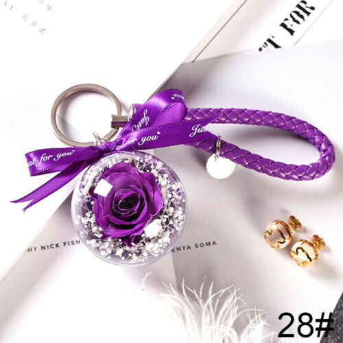 Women/'s new satin flower pearl /& Leather rope gold chain keychain key chain bag
