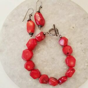 Studio-Barse-Red-Bamboo-Coral-Chunky-Bead-925-Silver-Hook-Drop-Earring-Bracelet