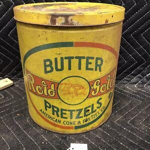 Vintage Tin Butter Rold Gold Pretzels Tin 1 1/2lbs. American Cone & Pretzel Co.