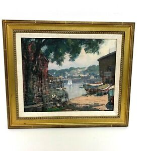 Thomas-R-Curtin-VT-1899-1977-Rockport-Harbor-Oil-on-Board