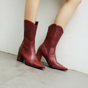 Women-Block-Heel-Mid-Calf-Boots-Pointy-Toe-Snakeskin-Knight-Riding-Boots-Shoes