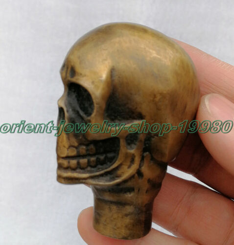 Chinese Old Bronze Hand Carved Dog Bitten skull Statue Cane Walking Stick Head