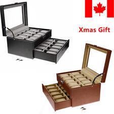 20 Slots grids Watch Display Case Storage Faux Leather Jewelry Organizer 2Tiers