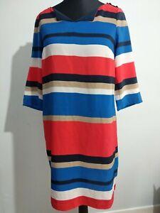 Tommy-Hilfiger-Kleid-rot-blau-und-weiss-Farbe-Block-Verschiebung-Gr-10-Logo-Knoepfe