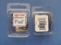 40 Eagle Claw 186r-2/0 Baitholder Ringed Eye Hooks Lot Of 5 Packs Bronze