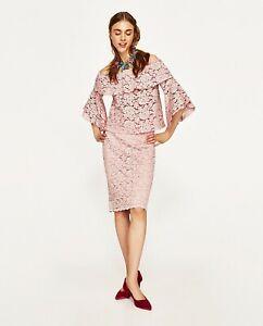 2020 Weg sparen reich und großartig Details zu Zara Set aus Carmen Bluse & Bleistiftrock rosa Spitze Rüschen  Volant Gr.L Neu
