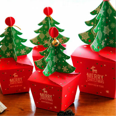 10-50X Merry Christmas Tree Party Favour Gift Sweets Carrier Candy Bags Boxes