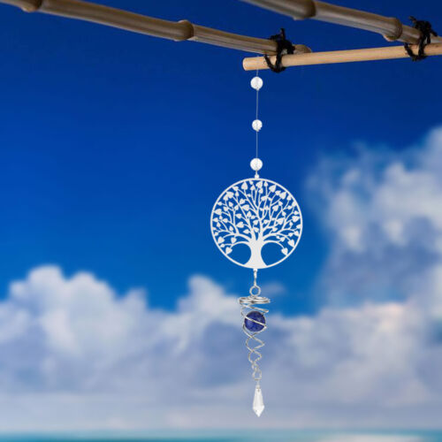 Tree of Life Wind chimes Crystal Outdoor Yard Garden Rotate Hanging Decor Gift