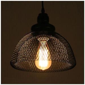 Vintage-industriel-metal-cage-fil-de-fer-loft-Plafond-Lumiere-Pendentif-Lampe-Shades