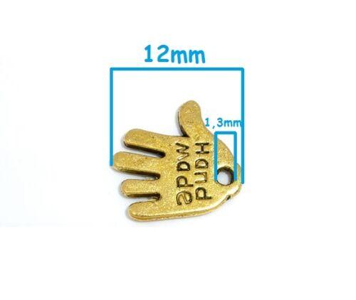 """Lot 5 ou 10 Pendentif Main Doré Mat /"""" Hand Made /"""" 12mm Breloques Charms"""