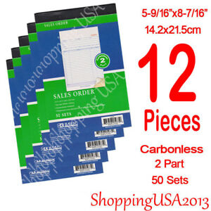 12-Pcs-Invoice-Sales-Order-Book-Receipt-Form-Record-Carbonless-50-Sets-2-Parts