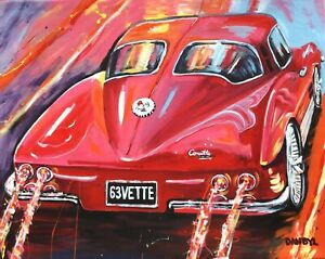 Vintage-63-Corvette-Original-Art-PAINTING-DAN-BYL-Modern-Contemporary-Huge-5ft