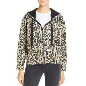 Kenneth-Cole-New-York-Womens-Tan-Leopard-Print-Casual-Hoodie-Top-XXS-BHFO-4885