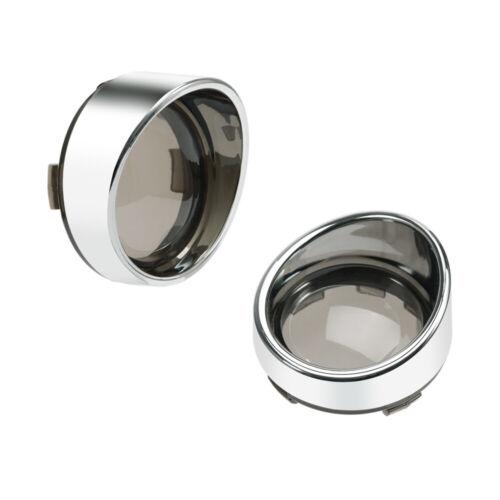 Visor-Style Turn Signal Light Bezels Visor Smoke Lens Cover For Harley FLHTC USA