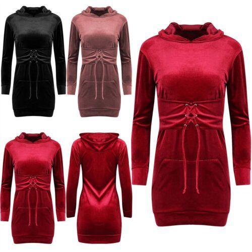 Womens Ladies Hooded Corset Belted Velvet Velour Kangaroo Pocket Bodycon Dress
