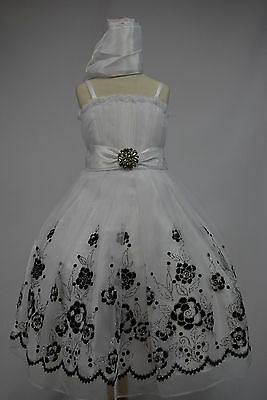 White Flower Girl Tulle Dress Kids Party Pageant Wedding Bridesmaid Ball Gown