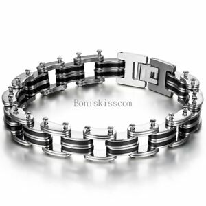 Punk-Rock-Black-Silicone-Rubber-Stainless-Steel-Chain-Bracelet-Wristband-for-Men