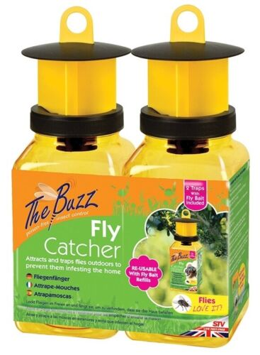 The Buzz Fly Catcher Trap For outdoor use BOTTLES OR REFILLS attracts flies up