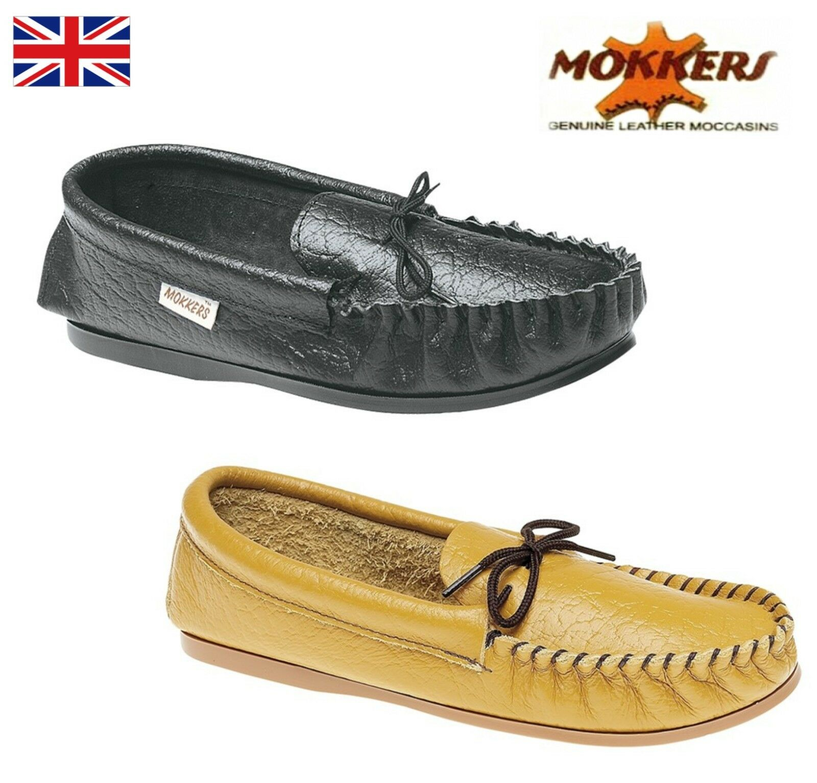Mens Quality Softie Leather Moccasin Slippers Black Tan Size 6 7 8 9 10 11 12 13