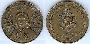 Medaille-de-table-La-BOURDONNAIS-Compagnie-Messagerie-Maritimes-1953-RB-BARON