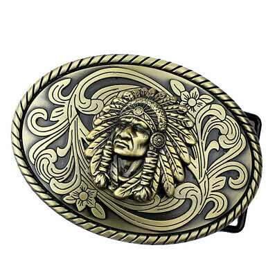 Western Rodeo Bronze Indian Tribal Chief Belt Buckle with Blue Rhinestone