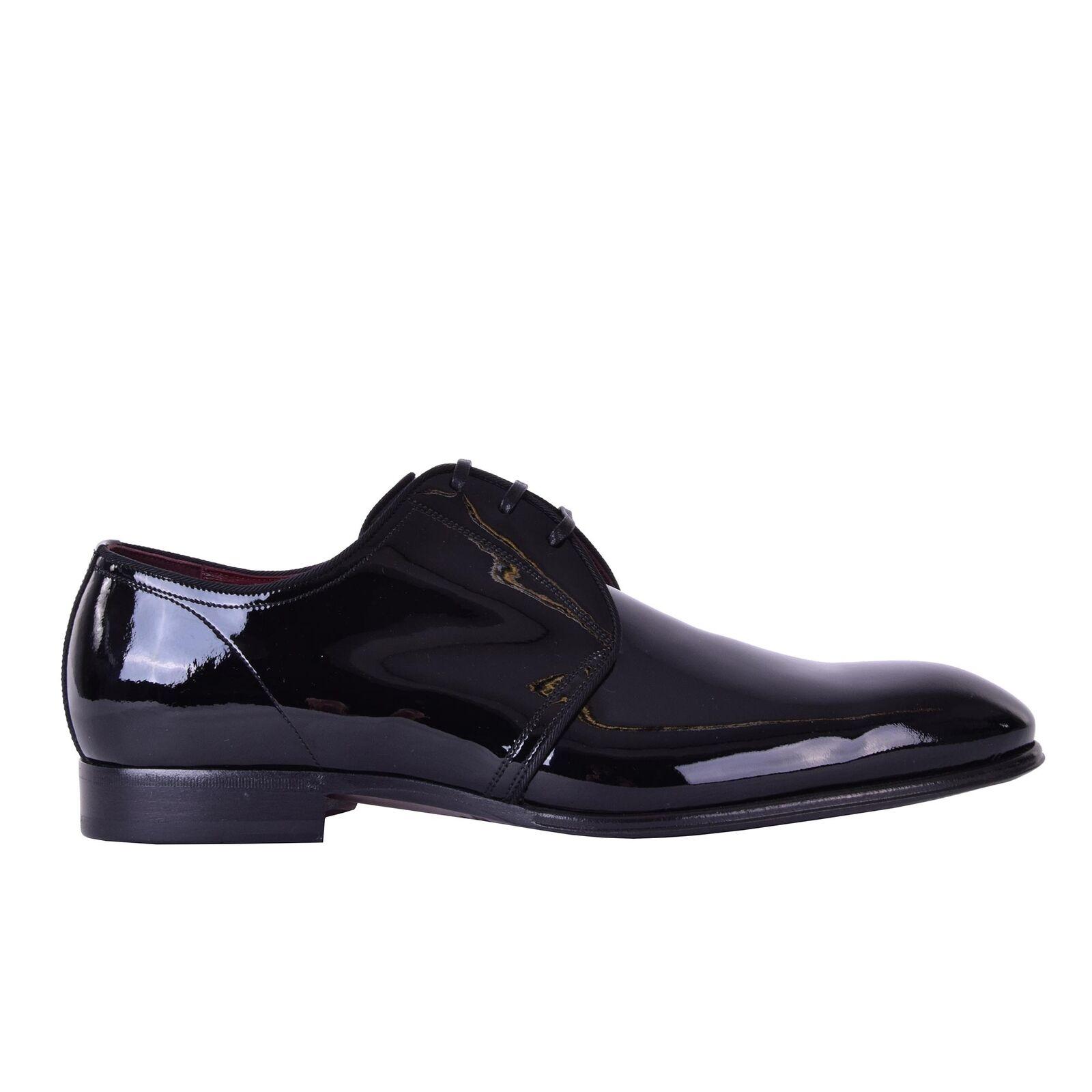 DOLCE & GABBANA Pelle Verniciata PORTOFINO Lacci Scarpe Nero 05885 Scarpe classiche da uomo