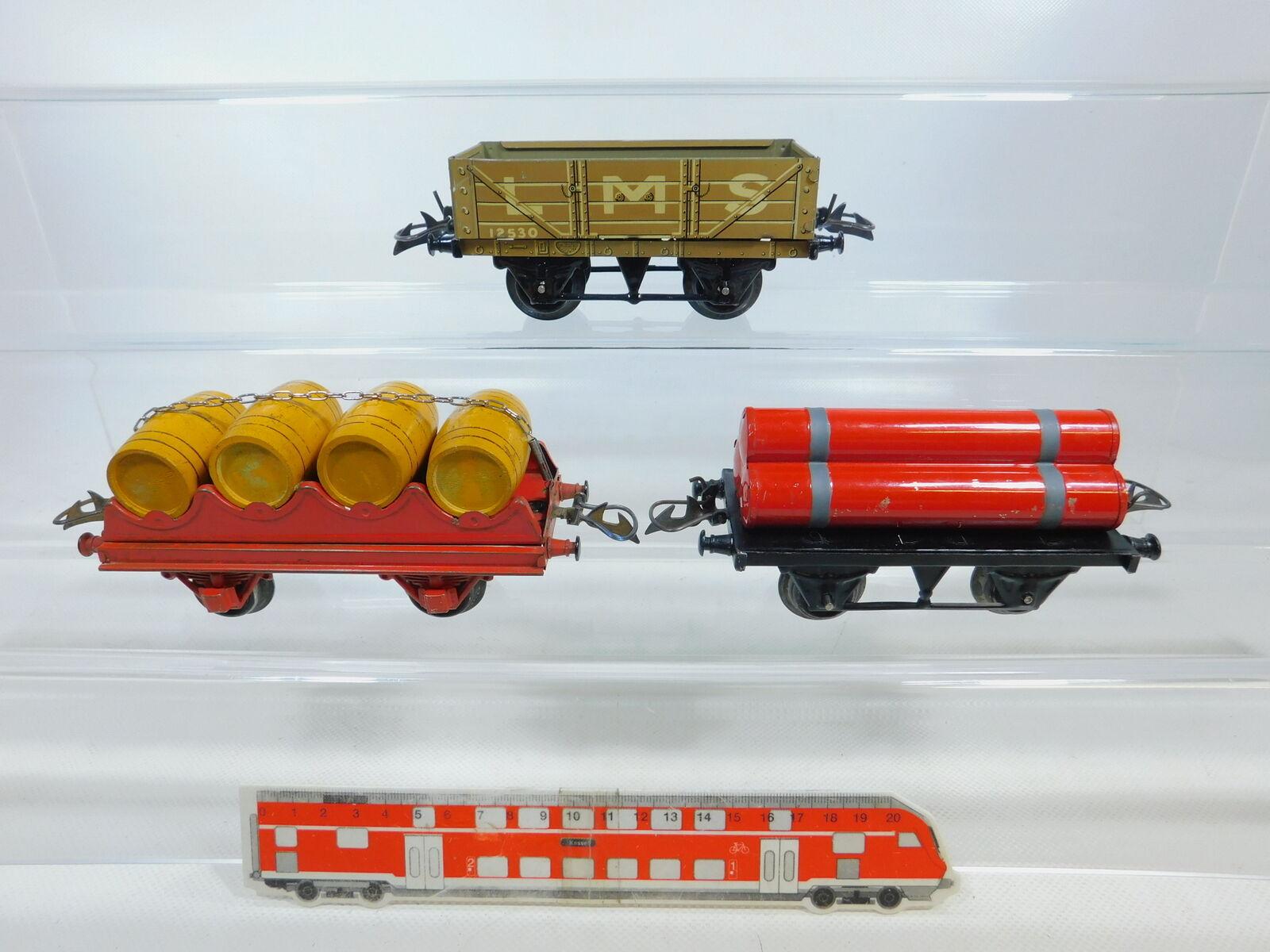 BY812-1  3x Hornby Escala 0 Vagón de Mercancía  Lms 12530 + con Barriles Vino