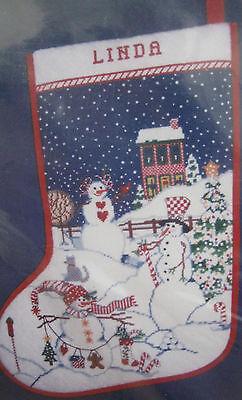 Candamar Needlepoint Stocking Kit Peppermint Hill Christmas 30890