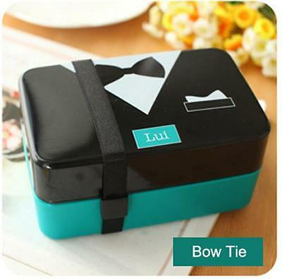 2 Tier Japanese Bento Lunch Box Food Container Bow Tie Pattern Microwave OK