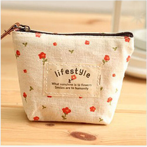 Flower Canvas Purse Lovely Sweet Women Lady Girl Coin Cash Pouch Wallet Bag AU