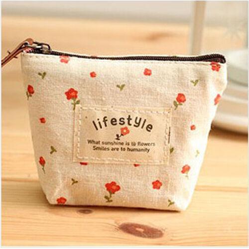 Flower Canvas Purse Lovely Sweet Women Lady Girl Coin Cash Pouch Wallet Bag AU