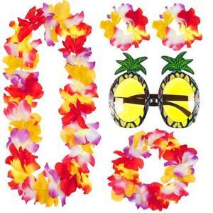 4PC LEI GARLAND SET /& PINEAPPLE GLASSES HAWAIIAN HULA LUAU FANCY DRESS COSTUME