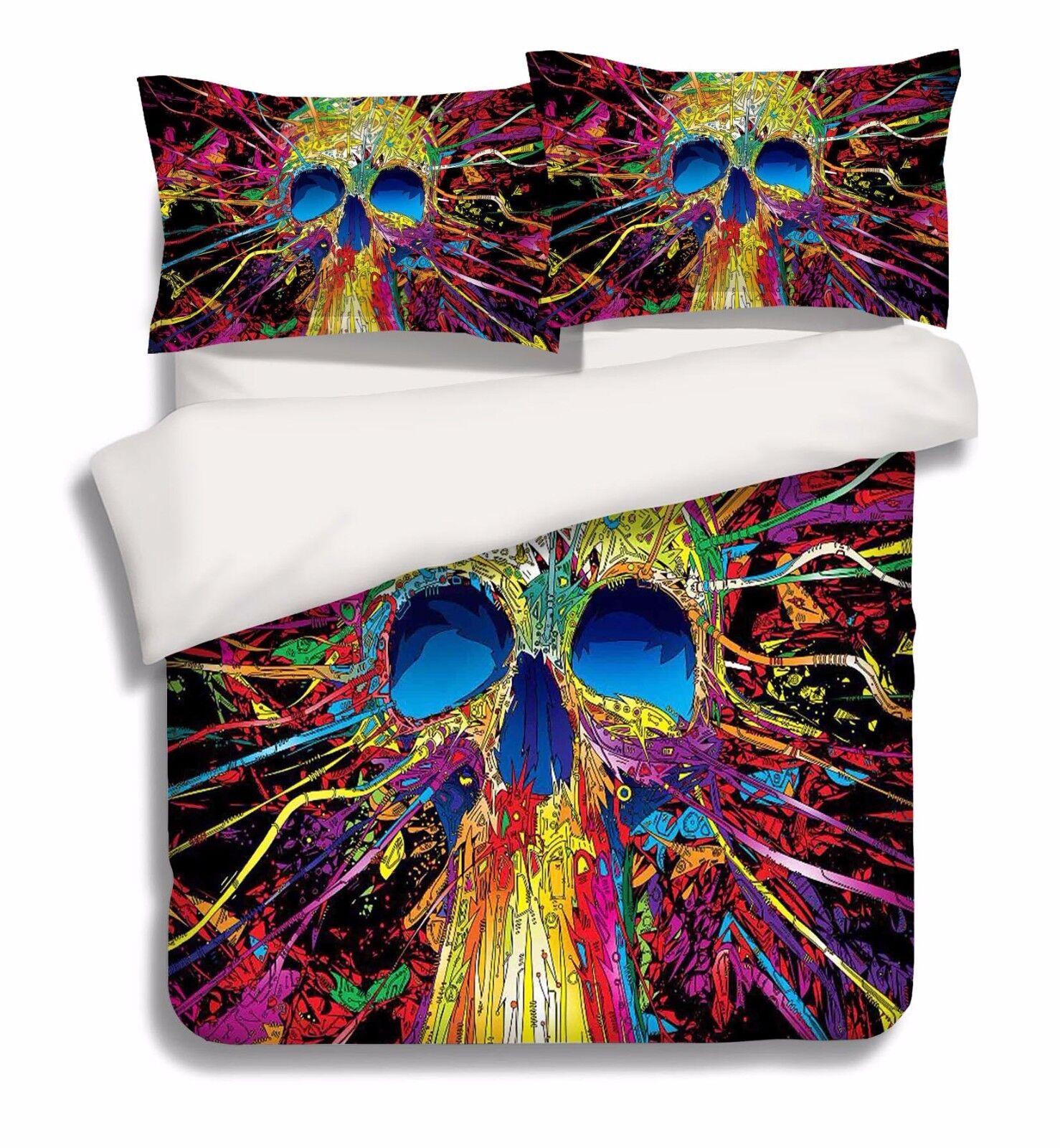 3D Paint Skull 886 Bed Pillowcases Quilt Duvet Cover Set Single Queen UK Carly