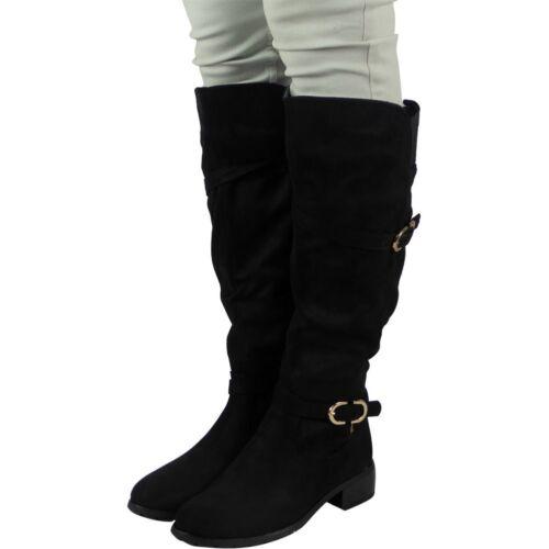 Womens Ladies Knee High Biker Low Heel Casual Calf Buckle Flat Boots Shoes Size