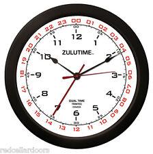 "TRINTEC ZULU CLOCK 12 & 24 HOUR DUAL TIME UTC MILITARY HAM SHACK SWL  ZT14-2 14"""