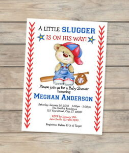 Little Slugger Baseball Baby Shower Invitation Baseball Teddy Bear