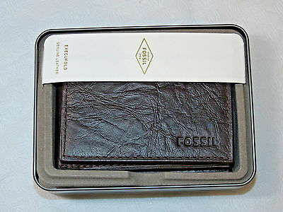 ML3255200 Ingram Execufold Brown Men's wallet Fossil card Leather **solid lining